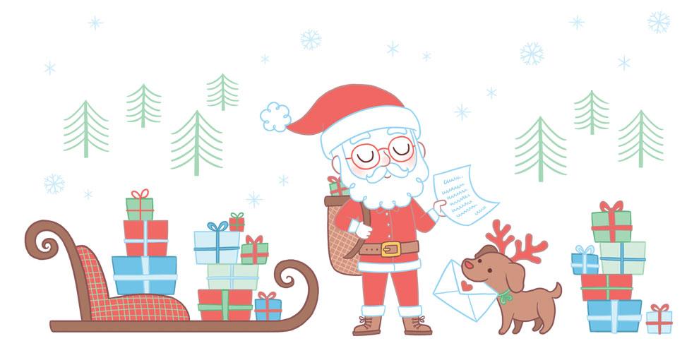 Dessin père Noël et son traineau