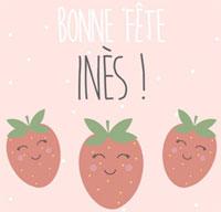Illustration fraises avec bonne fête Inès